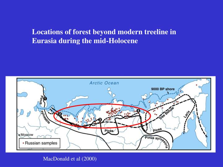 Locations of forest beyond modern treeline in Eurasia during the mid-Holocene