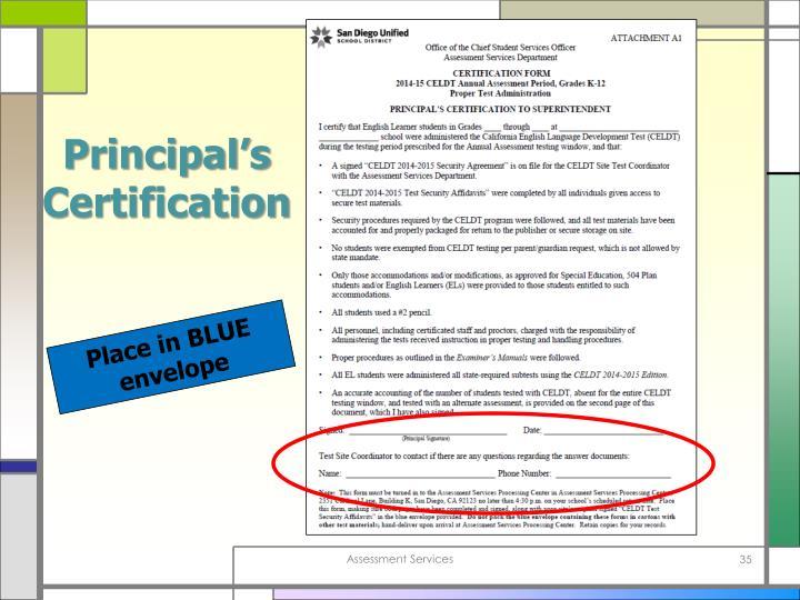 principal certification ppt powerpoint presentation envelope place