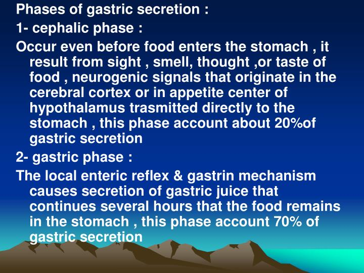 Phases of gastric secretion :