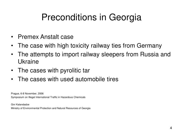 Preconditions in Georgia