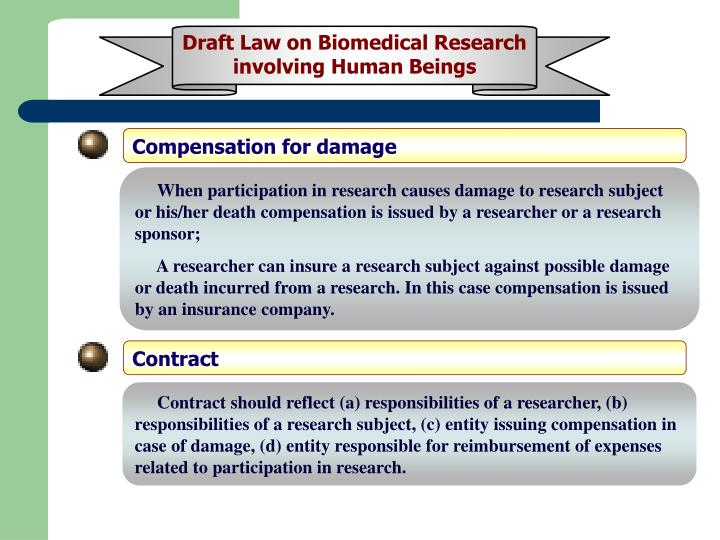 Draft Law on Biomedical Research involving Human Beings