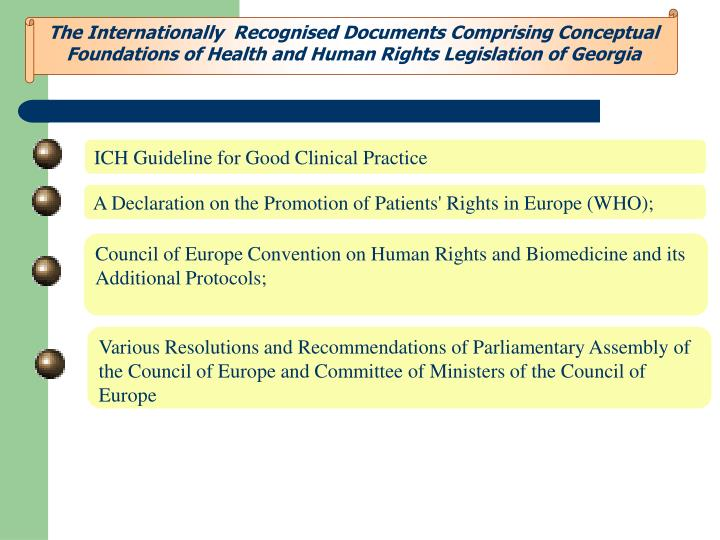 The Internationally  Recognised Documents Comprising Conceptual Foundations of Health and Human Rights Legislation of Georgia