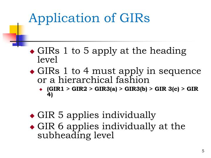 Application of GIRs
