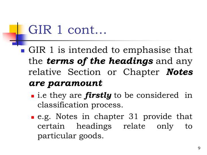 GIR 1 cont…