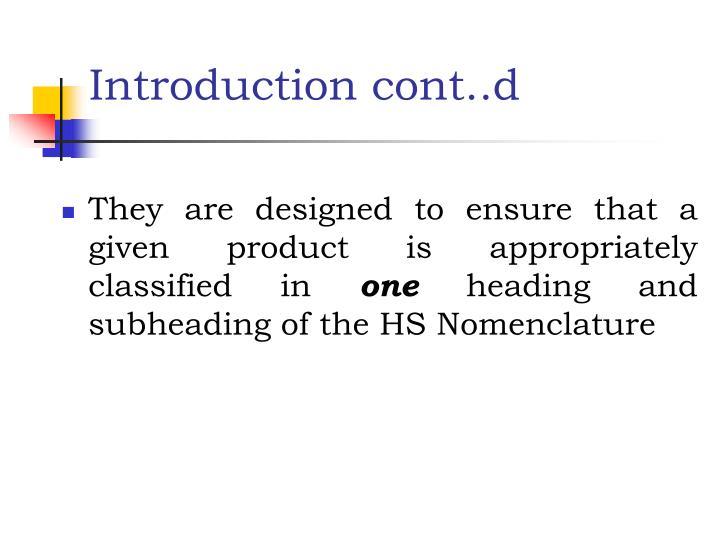 Introduction cont..d
