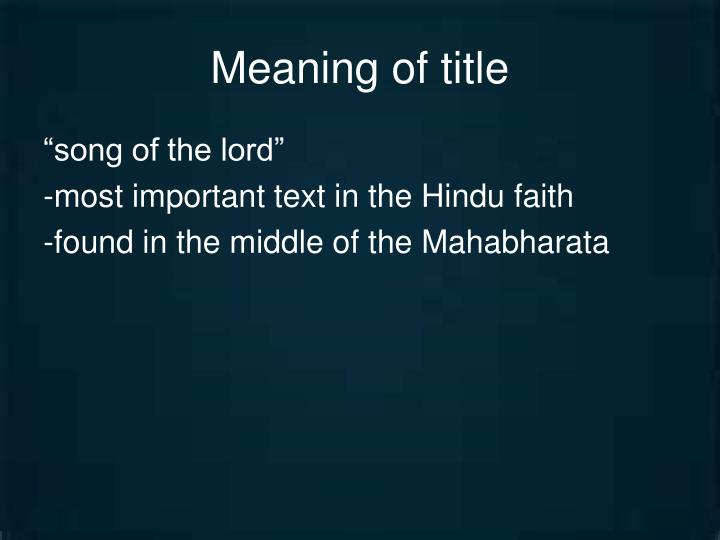 Meaning of title