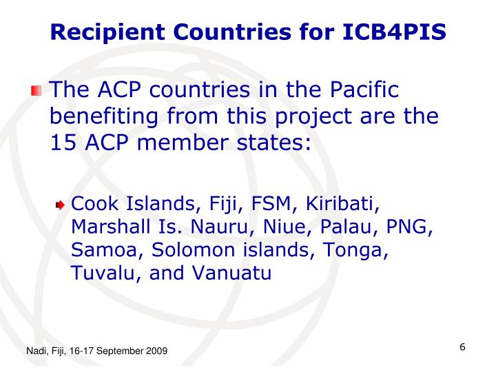 Recipient Countries for ICB4PIS