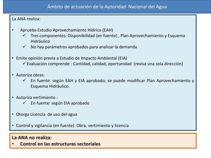 Ámbito de actuación de la Autoridad  Nacional del Agua