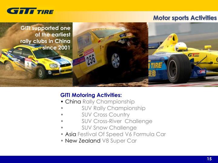 Motor sports Activities
