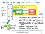 simulation strategy apv tpll model