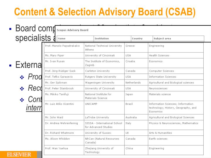 Content & Selection Advisory Board (CSAB)