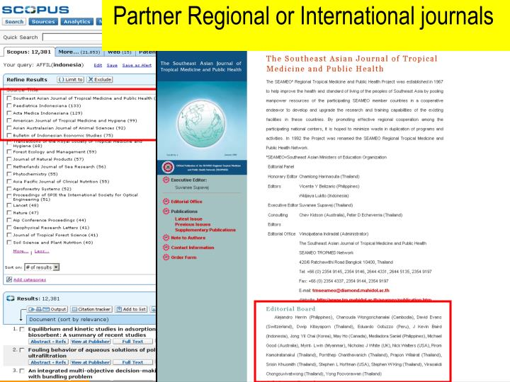 Partner Regional or International journals
