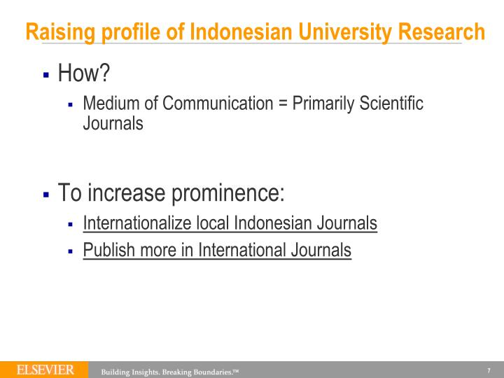 Raising profile of Indonesian University Research