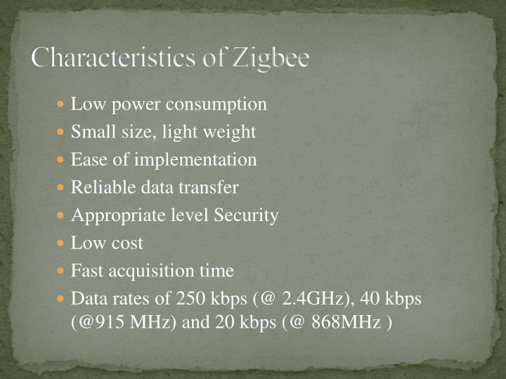 Characteristics of Zigbee