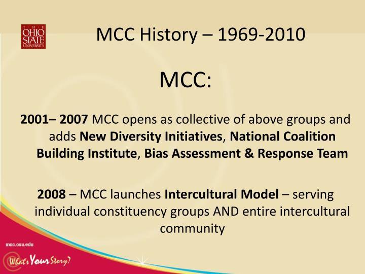 MCC History – 1969-2010
