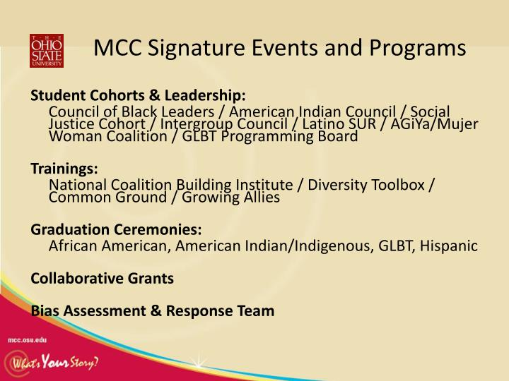 MCC Signature Events and Programs