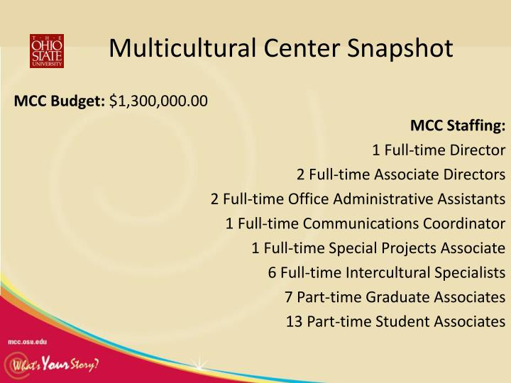 Multicultural Center Snapshot