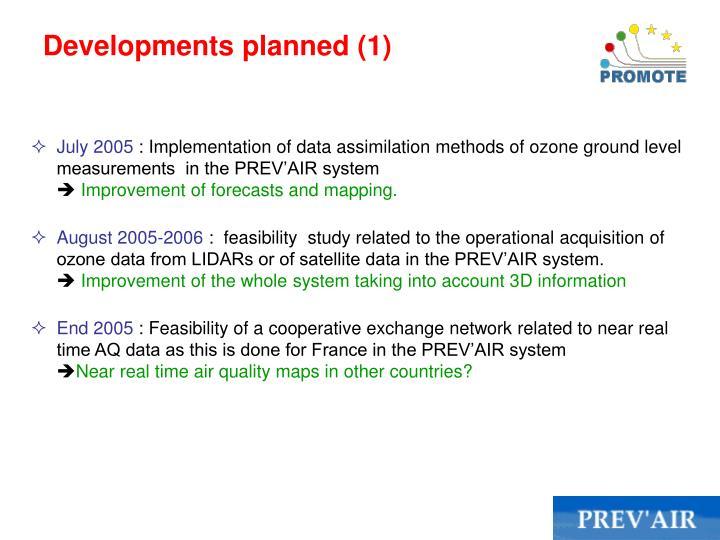 Developments planned (1)