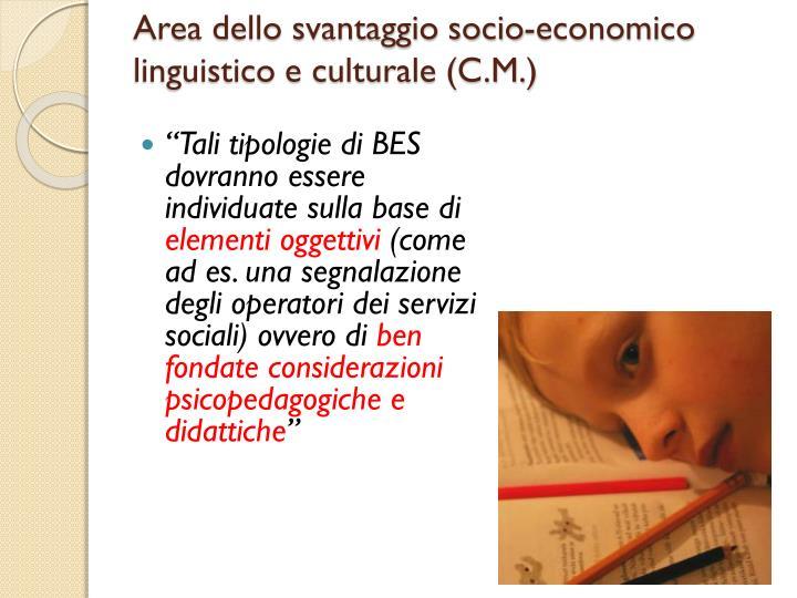 Area dello svantaggio socio-economico linguistico e culturale (C.M.)
