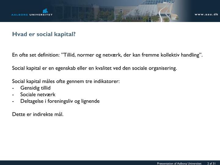 Hvad er social kapital?
