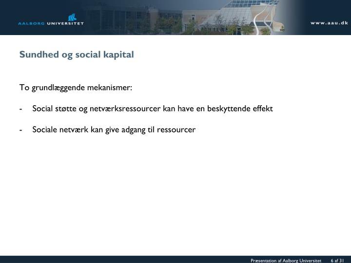 Sundhed og social kapital