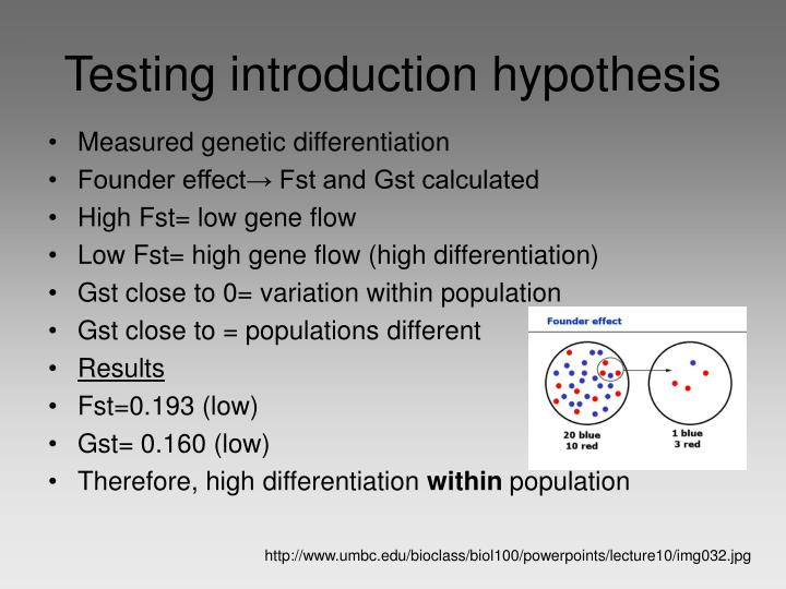 Testing introduction hypothesis