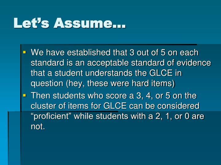 Let's Assume…