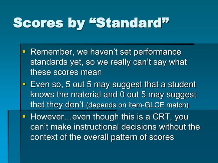 "Scores by ""Standard"""