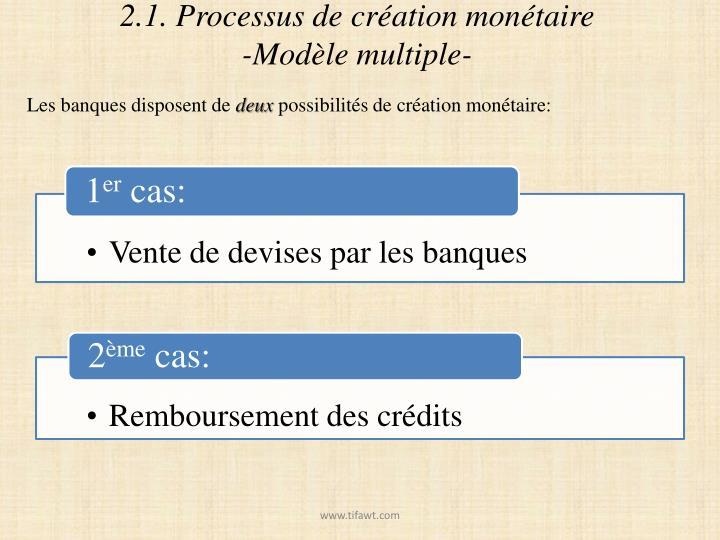2.1. Processus de création monétaire