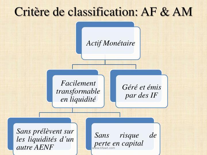Critère de classification: AF & AM