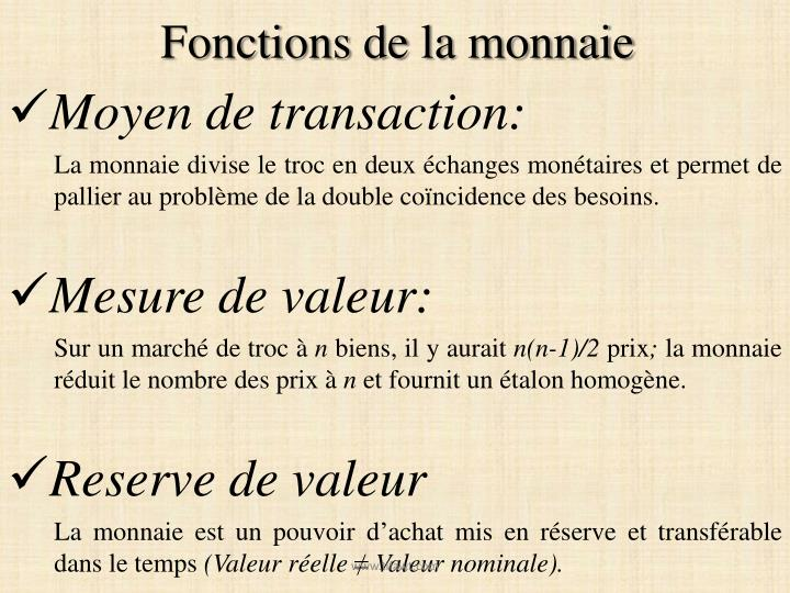 Fonctions de la monnaie