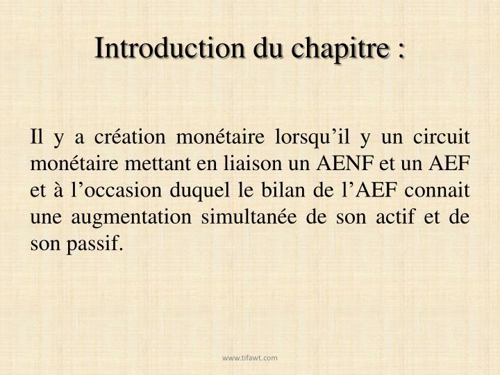 Introduction du chapitre :