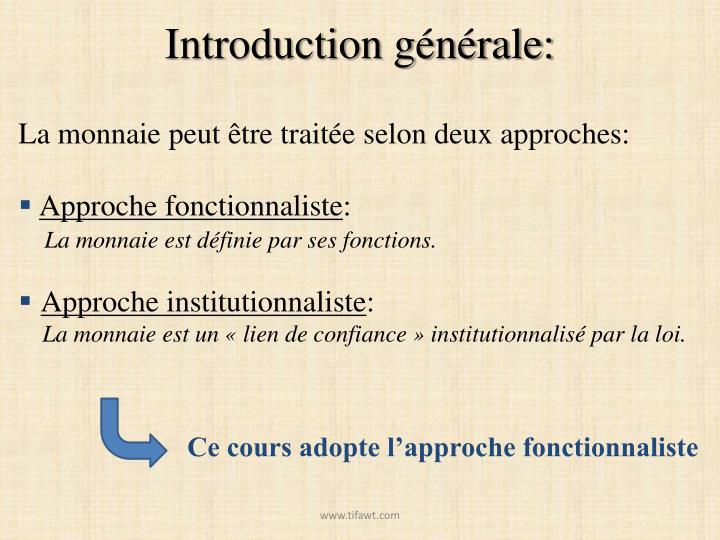 Introduction générale: