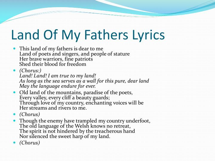 Land of my fathers lyrics