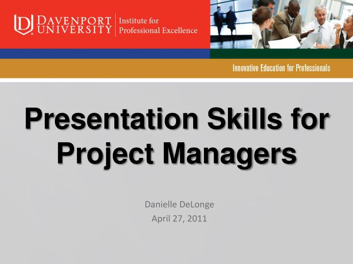 Presentation skills for project managers