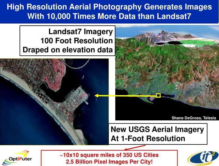 High Resolution Aerial Photography Generates Images With 10,000 Times More Data than Landsat7
