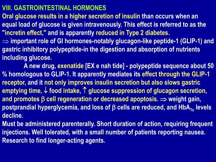 VIII. GASTROINTESTINAL HORMONES