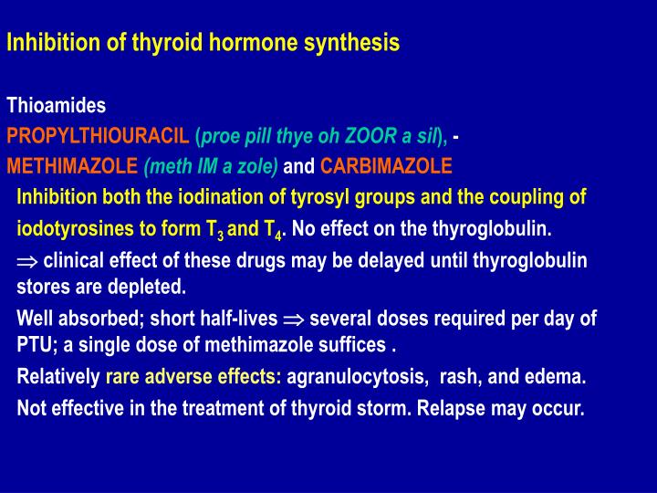 Inhibition of thyroid hormone synthesis