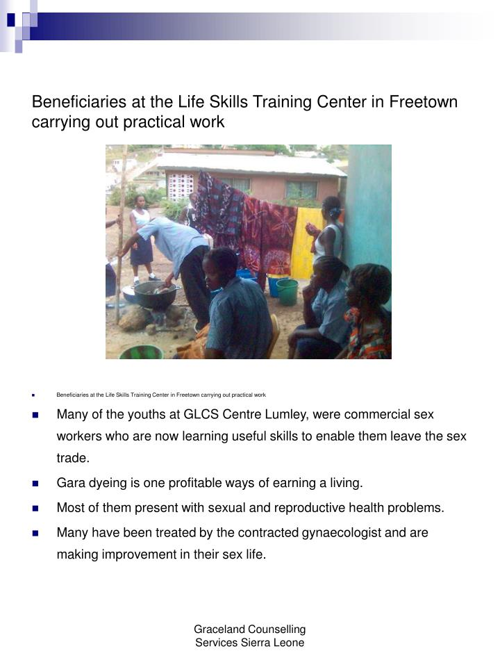 Beneficiaries at the Life Skills Training Center in Freetown carrying out practical work