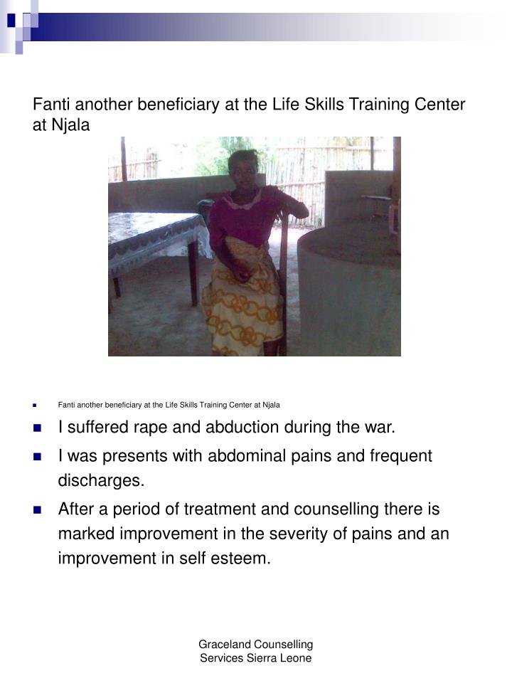 Fanti another beneficiary at the Life Skills Training Center at Njala