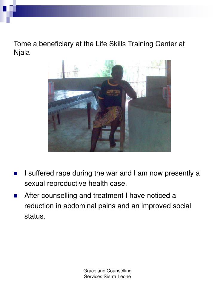 Tome a beneficiary at the Life Skills Training Center at Njala