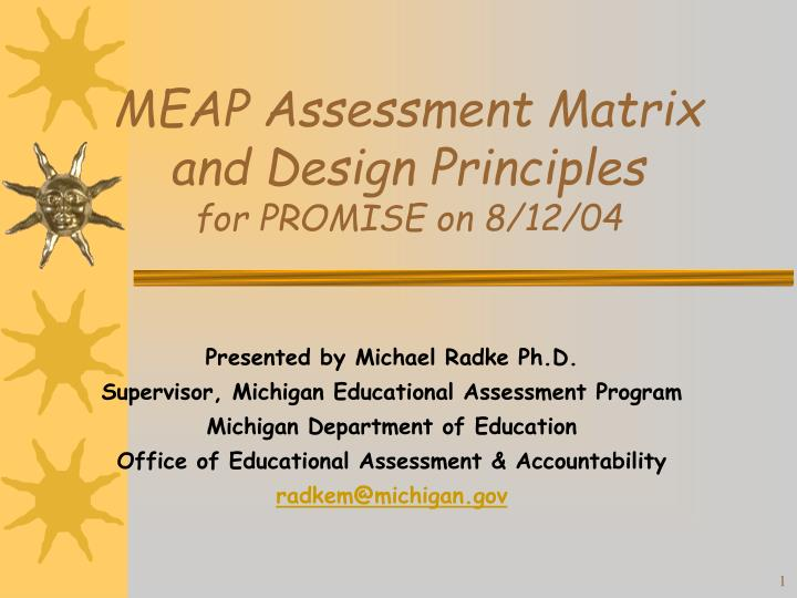 Meap assessment matrix and design principles for promise on 8 12 04