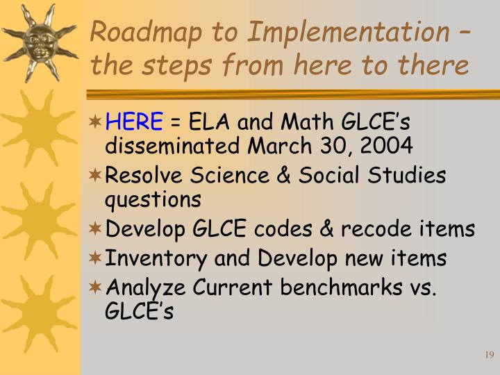 Roadmap to Implementation – the steps from here to there