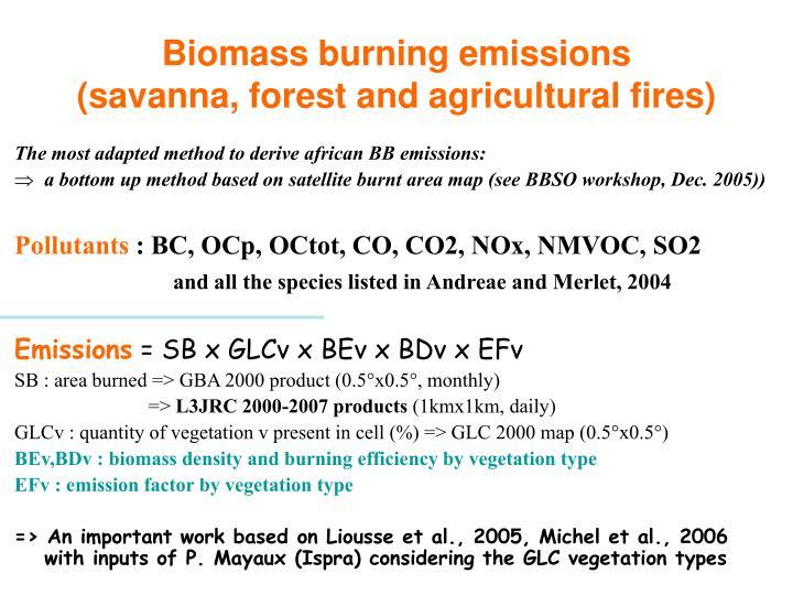 Biomass burning emissions