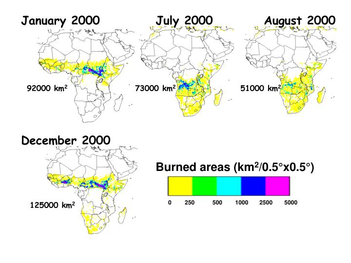 Burned areas (km