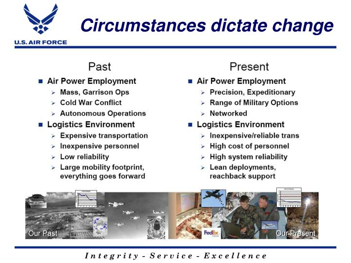 Circumstances dictate change