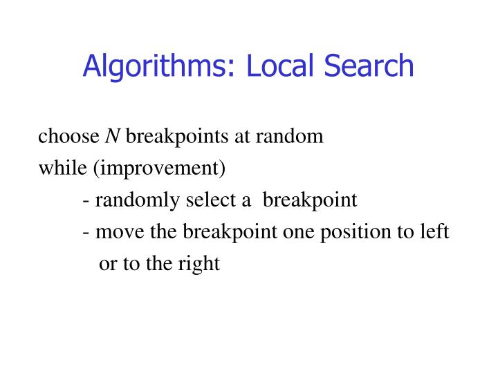 Algorithms: Local Search