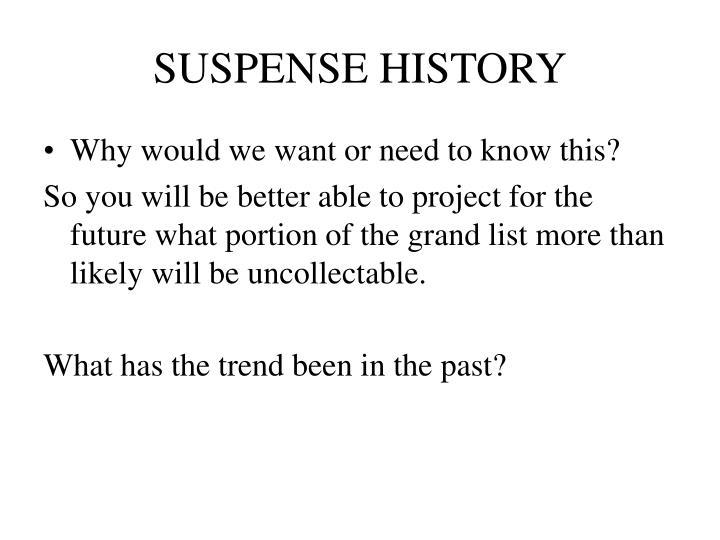 SUSPENSE HISTORY