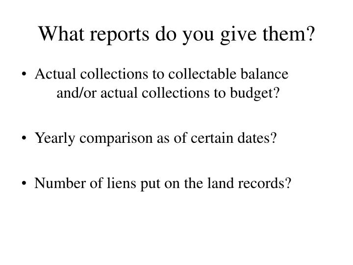 What reports do you give them?