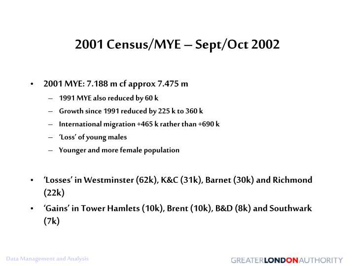 2001 Census/MYE – Sept/Oct 2002